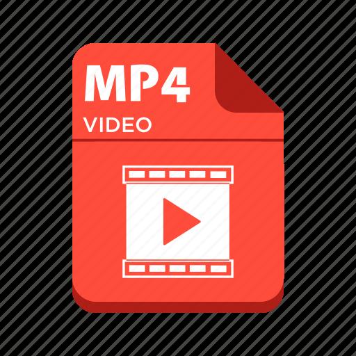 file, mp4, types, video file icon