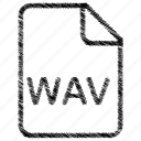 document, file, format, type, wav icon