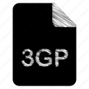 3gp, document, file, format, type icon