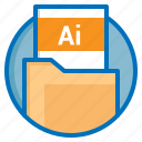 document, extension, file, illustrator icon
