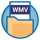 extension, wmv, file, document icon