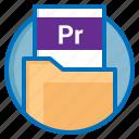 document, extension, file, pr, premiere icon