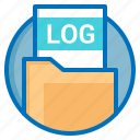 document, extension, file, log icon