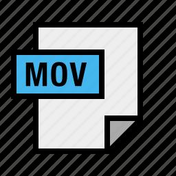 document, file, filetype, mov, movie icon