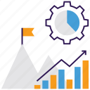 business analytics, business graph, financial increase, goal analytics, statistical analysis icon