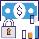 financial security, money lock, money protection, money safety, secure money icon