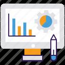 analytics, graphic designing, growth analysis, market research, online statistics icon