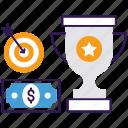 achieving goals, business goals, business plan, business success, success goals, winning plan icon