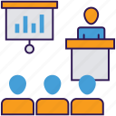 business seminar, business speech, business training, leadership training, professional training, training seminar icon