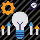 best idea, bright idea, bulb, idea symbol, innovative management, light bulb icon