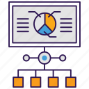 analytics, barchart, flowchart, growth analysis, market research, statistic report icon