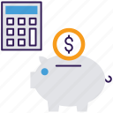 accounting, financial accounting, investment, money savings, piggy bank icon