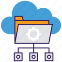 cloud computing, cloud data storage, cloud hosting, cloud server, network sharing icon