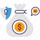 money protection, money saving, save investment, secure money, secure payment icon
