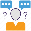 communication conflicts, confused communication, settlement of dispute, sms conflict, solution to problem icon