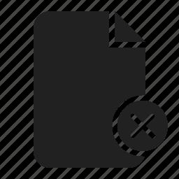 delete, delete file, document, file, paper icon