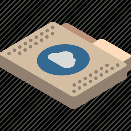 cloud, file, folder, isometric, the icon