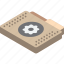 file, folder, isometric, settings icon