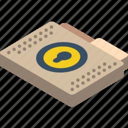 file, folder, isometric, lock icon