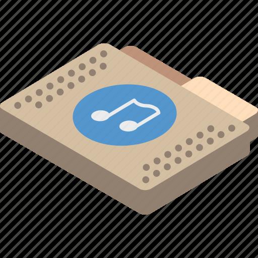 file, folder, isometric, music icon