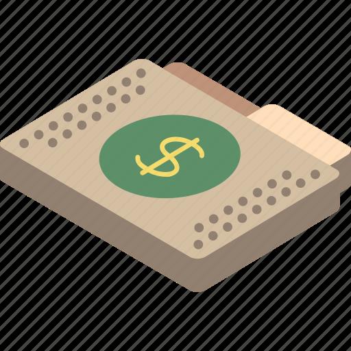 dollar, file, finance, folder, isometric icon
