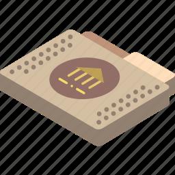 file, folder, isometric, library icon