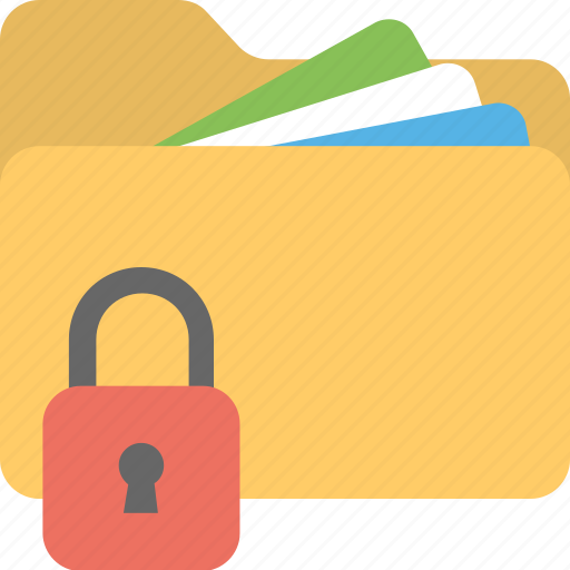 confidential data, data security, file protection, locked folder, privacy concept icon