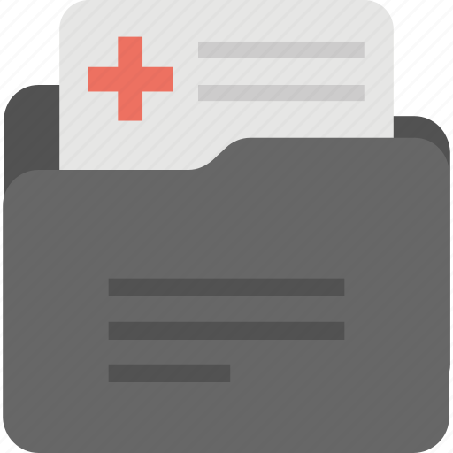 add document, archived report, medical report, patient document file, patient history record icon