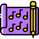 composition, document, file, folder, music, write icon