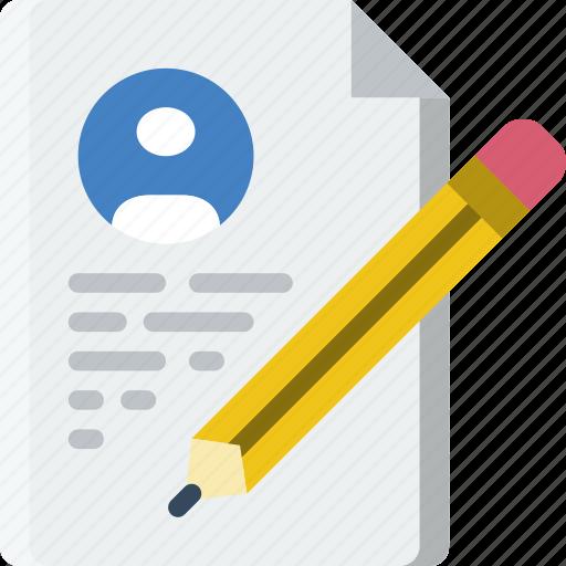 document, file, folder, resumee, write icon