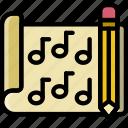 composition, document, file, folder, music, write icon