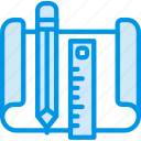 write, file, folder, document, tools, drawing icon