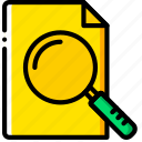 document, file, folder, search, write icon