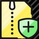 zip, file, shield