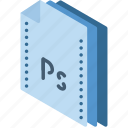 file, folder, isometric, photoshop icon