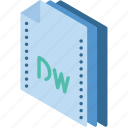 dreamweaver, file, folder, isometric icon