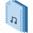 file, folder, isometric, music icon