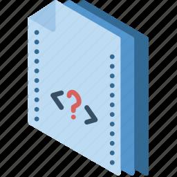 file, folder, isometric, php icon