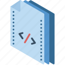 code, file, folder, isometric icon