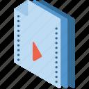 file, folder, isometric, movie