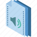 file, folder, isometric, sound icon
