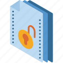 file, folder, isometric, unlock icon
