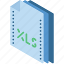 excel, file, folder, isometric icon