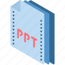 file, folder, isometric, powerpoint icon