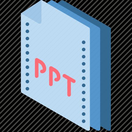 file, folder, isometric, powerpoint icon