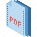 file, folder, isometric, pdf icon