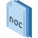 doc, file, folder, isometric, word icon
