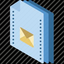 file, folder, isometric, mail icon