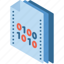 binary, file, folder, isometric icon