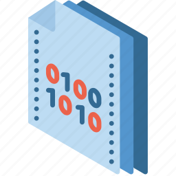 binary, file, folder, isometric icon